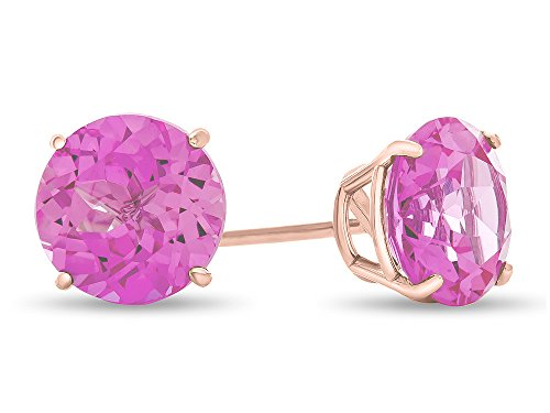Finejewelers 14k Rose Gold 7mm Round Created Pink Sapphire Post-With-Friction-Back Stud Earrings