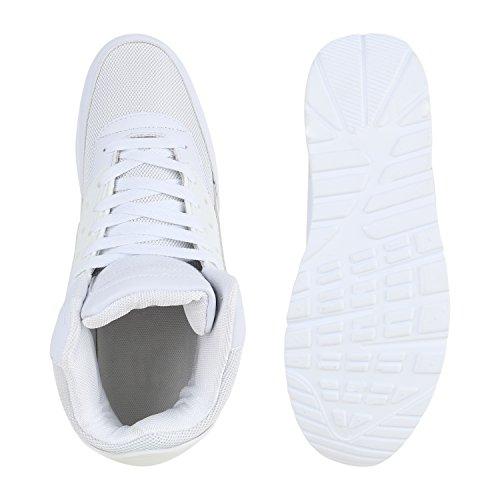 Sportliche Herren Sneakers High Bequeme Turnschuhe Basic Flandell Weiß