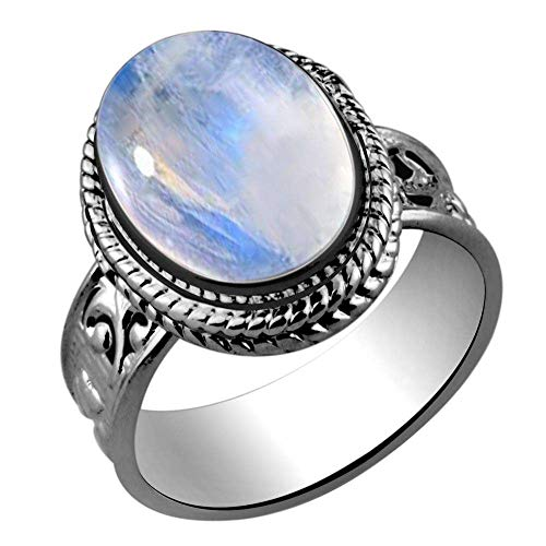Oval Genuine Moonstone Ring - 5.60ctw,Genuine Rainbow Moonstone 10x14mm Oval & .925 Silver Plated Handmade Ring (Size-11.5)
