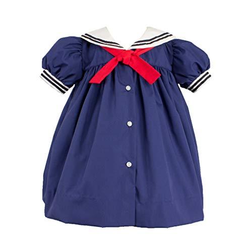 - Petit Ami Toddler Girls' Nautical Dress with Collar, 2T, Navy