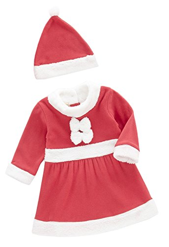 Age 1-3 Baby Girl Holiday Santa Costume Red and White Dress