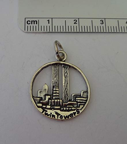 Sterling Silver 20 mm Round New York World Trade Center Twin Towers Charm