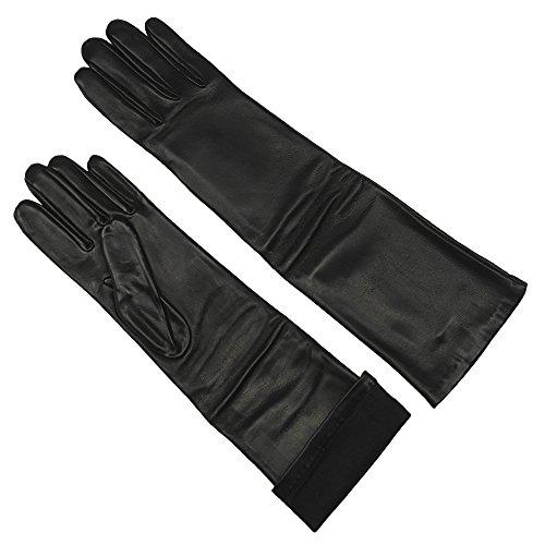 Long Opera Length Sheepskin Leather Gloves for Women | Silk Lined | 16 inch by Grandoe (Black 6.5 - S)