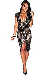 Short Sleeve Deep V-Neck Sequin Dress