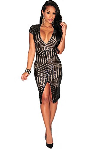 Kearia Women Short Sleeve Deep V-Neck Sequin Split Bodycon Cocktail Party Dress Black XLarge(US L)
