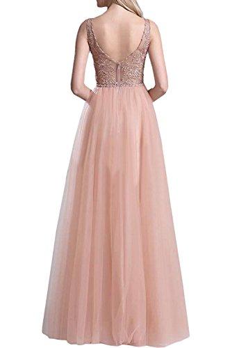 Marie Langes Ausschnitt Spitze Rock Abendkleider La A Rosa Braut Linie Tuell V Prinzess Partykleider Promkleider Rosa BURcWdxn
