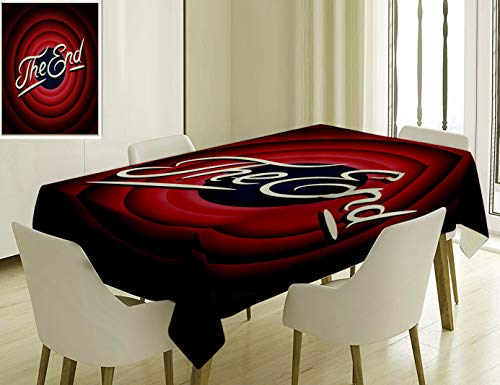 Unique Custom Cotton And Linen Blend Tablecloth 7 Movie Ending Screen Academy Dated Broadcast Entertainment Show Oscar Cinema Frame Image Red Navy WhiTablecovers For Rectangle Tables, 86 x 55 Inches -