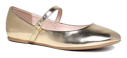J. Adams Lottie Mary Jane Flats, Gold Metallic PU, 6 B(M) US (Tan Metallic Ballet Flats Shoes)