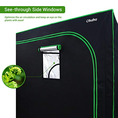 Ohuhu 48 x 48 x 80 Grow Tent with Observation Window Tool Bag, Mylar Hydroponic Plant Growing Tent with Durable 600D Oxford Cover for Indoor Plant Growing, Gardening and Germination