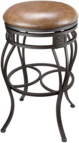 Kira Home Monarch 30 Backless Swivel Bar Stool, Old Steel Finish, Brown Faux Leather Seat