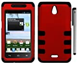 Huawei Valiant Y301 Ascend Plus H881c Rib Hybrid Protector Cover Case with ApexGears Stylus Pen (Red Black)