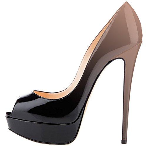 MERUMOTE Women's Aahe Stiletto Heel Platform Peep Toe  Nude-Black Patent Leather  Dress Pumps - 11.5 B(M) US