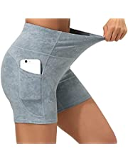 Dragon Fit Womens Yoga Shorts with Pockets High Waist Workouts Shorts Tummy Control Yoga Pants for Running,Gym,Fitness
