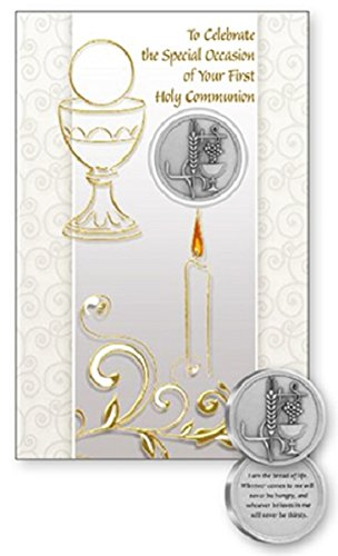 First Holy Communion Card with Metal Communion Pocket Token & Lourdes Prayer Cards ()