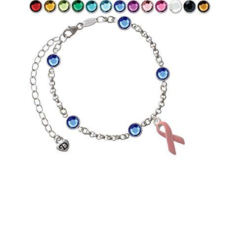Pink Ribbon Custom Crystal Color Fiona Charm Bracelet