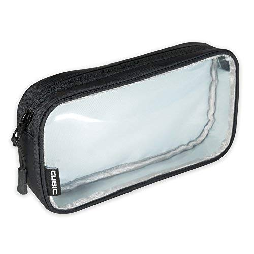 Purada Clear Pouch Travel Electronics Organizer with Padded Back Panel (Black)