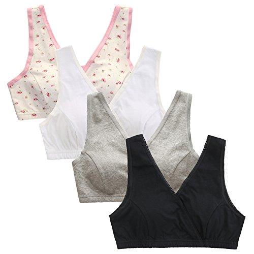 96d061ec1e609 EMY Nursing Bra Maternity Bra 4 Pack Wrap Sleep Bra for Maternity to Nursing  Seamless Cotton (US M (Asian Tag L) 1F1W1G1B)