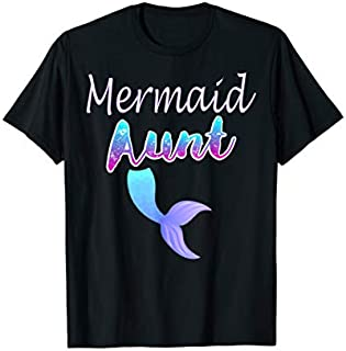 Cool Gift Aunt Birthday Party Tee Aunt Girl MERMAID Aunt TSHIRT Women Long Sleeve Funny Shirt / Navy / S - 5XL