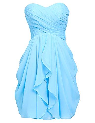 Invité De Mariage De Demoiselle D'honneur Robe De Mousseline De Femmes Clearbridal Partie Robe De Bleu Sd247-ciel