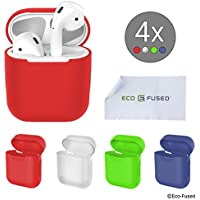 Eco-Fused Replacement Protective Covers Compatible with Apple AirPods Case - 4-Pack (Red, Blue, Green and Transparent) - Silicone Skins - Protects The Case of Your AirPods from Scratches and Shocks