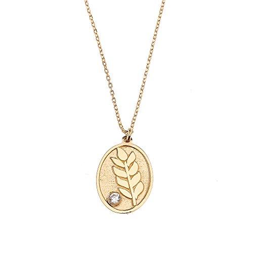 Fern Leaf Pendant - 14k Yellow Gold Fern Leaf Charm Cubic Zirconia Pendant Necklace, 16