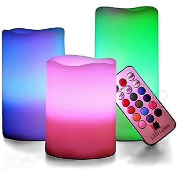 Amazon Com Led Lytes Multi Colored Flameless Candles 3
