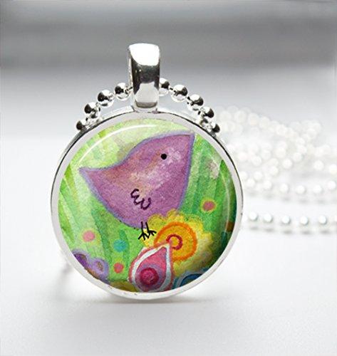 1inch Circle Glass Pendant Necklace - Watercolor Bird Design (009 Glasses)