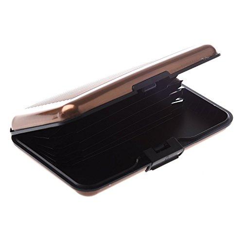 TOOGOO(R) Farbe, Metall, Aluminium Identifikation-Kreditkarte-Kasten-Mappen-Geldbeutel-Halter-Kasten-Tasche - Braun Streifen