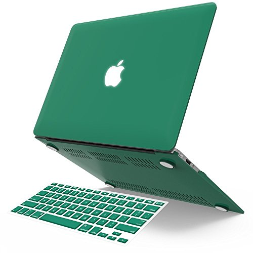 13 Cut Green (iBenzer Basic Soft-Touch Series Plastic Hard Case & Keyboard Cover for Apple Macbook Air 13-inch 13