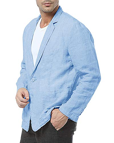 Mens Linen Suit Blazer Lightweight One-Button Casual Solid Tailored Fit Sport Jacket