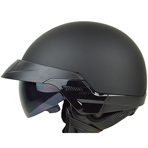 PGR B20 BLACK AVIATOR OLD SCHOOL SKID LIDS HARLEY STYLE DOT APPROVED MOTORCYCLE HALF HELMET CHOPPER CRUISER CUSTOM SHORTY (Medium, Matte Black) Custom Half Helmet