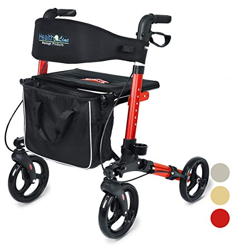 Health Line Compact Rollator for Seniors, Aluminum Side-Fold Rolling Walker with Paded Seat, Cherry Red