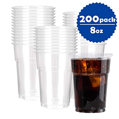 OTOR 8oz Clear Plastic Party Cups, Cold Hot Drinks Coffee Disposable PP (Polypropylene) Cups/Tumblers - 200 -