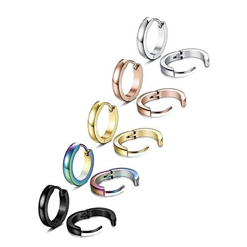 TOPBRIGTH 5 Pairs 316L Surgical Stainless Steel Hoop Earrings for Men Women Small Hoop Huggie Ear Piercings (5 Pairs (5 Color))