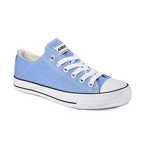 Azul Flat Ocasionales Top De Las De ANDY Zapatillas Claro Deporte Low up De Mujeres Sólidos Colores Z Zapatillas Lona Lace qxTRgFUvw