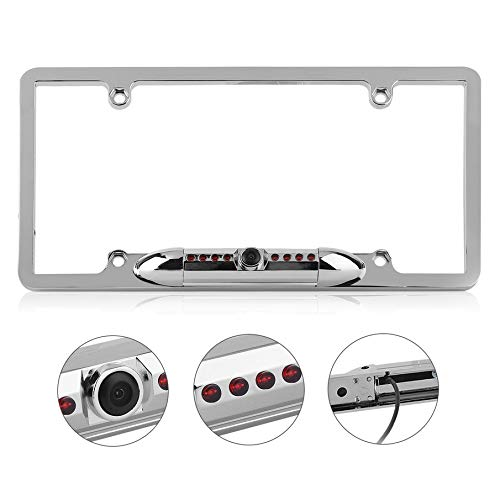 Waterproof Night Vision License Plate Frame Car Rear View Backup Camera Silver