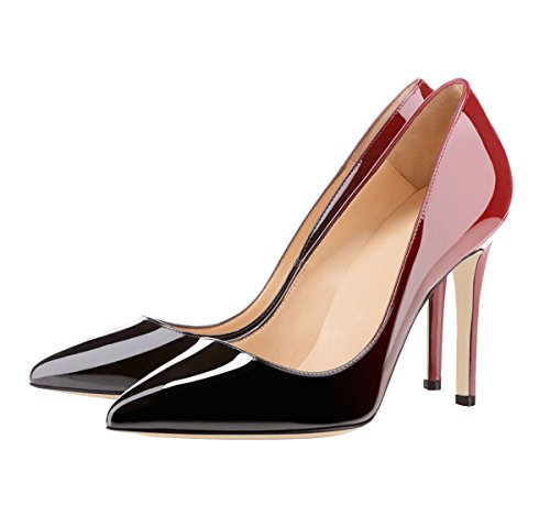 SexyPrey Women's Patent Leather Multi-color Stiletto Heels Pointed Toe Plus Size Court Shoes Black and Red YK5qT5gNyk