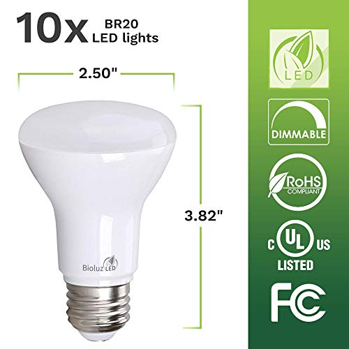 10 Pack Bioluz LED BR20 LED Bulb 6W=50W 2700K Warm White 90 CRI Dimmable UL-Listed CEC Title 20 Compliant 540 Lumen Outdoor/Indoor Flood Light (Pack of 10)