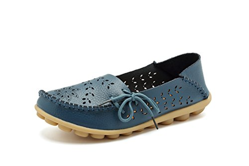 RT Group Women's Leather Loafers Casual ShoesMoccasins Wild Breathable Flat Indoor Slip on Slippers 2blue