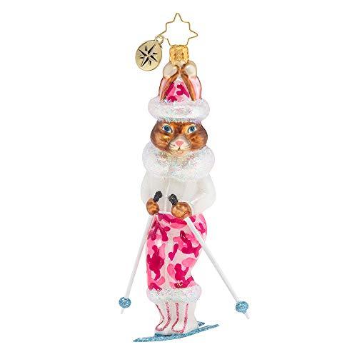 Christopher Radko Skiing Snow Bunny Christmas Ornament, White, Brown, Pink
