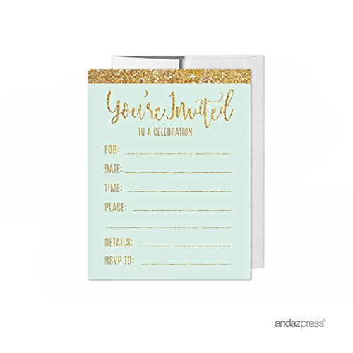 Andaz Press Mint Green Gold Glitter Print Wedding Collection, Blank Party Invitations with Envelopes, 20-Pack