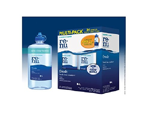 Renu Lens - Renu fresh Multi Purpose Contact Lens Solution Two 16 Ounce Bottles, One 2 Ounce Bottle, 2 Contact Lens Cases