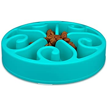 wangstar Slow Feed Dog Bowl 8 inch, Bloat Stop Dog Puzzle Bowl Maze, Dog Food Water Bowl Pet Interactive Fun Feeder Slow Bowl SkidStop Design (Blue)