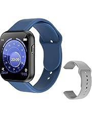 Smartwatch med full touch, smartklocka full touch bluetooth smartklocka med grå reservrem pulstest X6 Plus sport smart armband för män blå