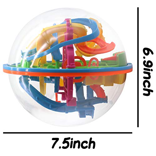 3 otters 3D Puzzle Ball, 138 Obstacles Maze Ball Interactive Maze Game with Education Toy Sphere Game Ball Boy Gifts
