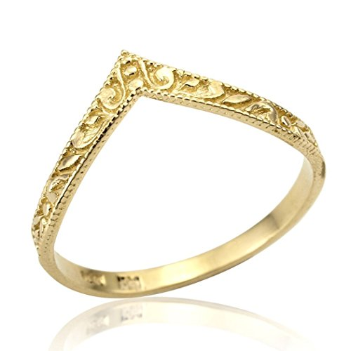 Hand Crafted Dainty Chevron V shape Stackable Wedding Ring Designer Promise Anniversary Band SIZE 6 by Neta Wolpe