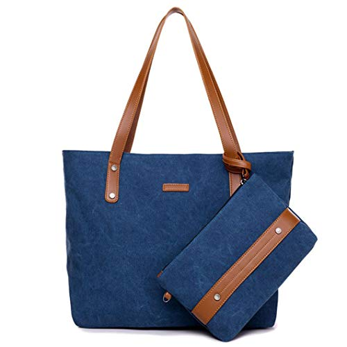 FitfulVan Clearance! Hot sale! Bags, Women's Fashion Canvas Shoulder Bags Handbag+Clutch Wallet (Blue)