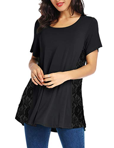 LATWIIV Women's Casual Lace Tunic Tops Short Sleeve O-Neck A Line T-Shirt Blouses for Legging Black M