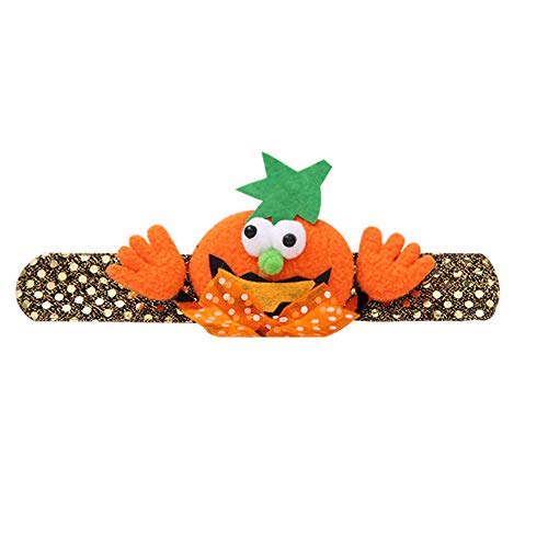 Halloween Slap Bracelet Party Decor Pat Circle Hand Ring Orange Pumpkin -