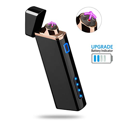 Lighter, Electric Arc Lighter USB Rechargeable Lighter Windproof Flameless Lighter Plasma Lighter with Battery Indicator (Upgraded) for Fire, Cigarette, Candle - Outdoors Indoors (Bright-Black)
